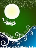 Christmas abstract background with flying santa in green
