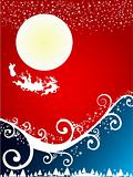 Christmas abstract background with flying santa in red