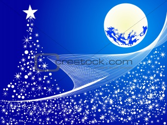 Christmas abstract vector illustration background of flying santa in blue