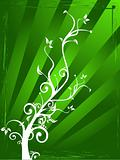 Flowers abstract vector green background