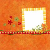 Hot orange background with decorated frame