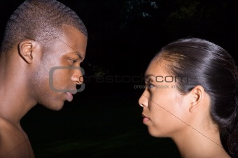 Couple face to face