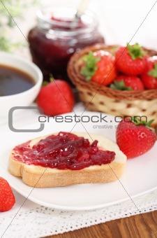 Tasty fresh breakfast in the sunny morning