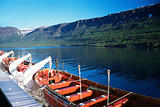 A ferry on a fjord in iceland