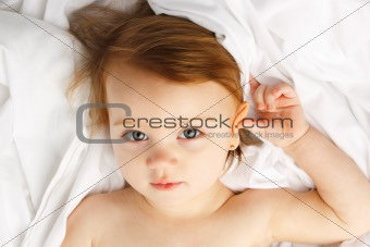 Child White Sheet Beauty Lay