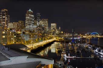 Seattle Downtown Skyline Waterfront Marina