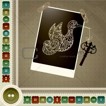 allegorical vector composition with bird and key with a frame with stripes, buttons and laces
