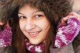 Smiling girl in hood