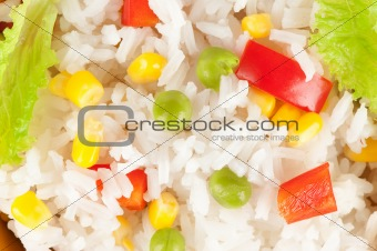 rice with vegetables closeup