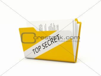 Top secret folder isolated on white