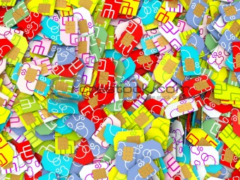 Colorful sim cards background