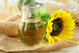 sunflower oil from sunflower  in a glass jar