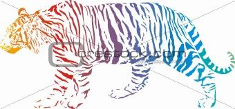 Tiger - vector abstract rainbow