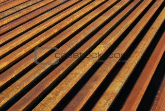Rusty rails lined-up