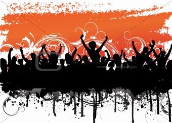 Grunge crowd scene