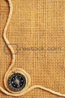 frame of compass and ropes Roll on sack