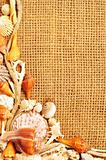 seashell and rope frame on sack