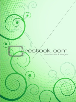 abstract floral pattern green swirl frame