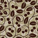 seamless cherry with leaf background pattern