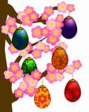 Flowering Cherry Blossom Tree with Easter Eggs