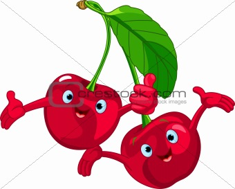 Cheerful Cartoon Cherries character