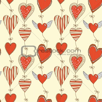 Seamless cartoon romantic pattern with hearts