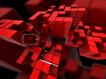 abstract red cubes