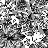 Seamless floral pattern bw