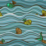 Seamless sea pattern with fish