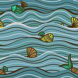 Seamless sea pattern with fish