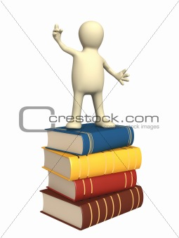 3d puppet with books