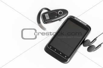 smartphone with accessories
