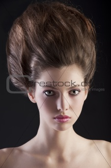 brunette with creative hairstyle