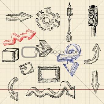 Abstract sketch set, arrows