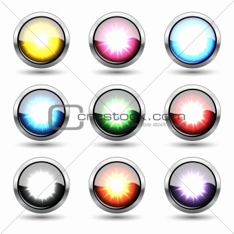 "Colorful metal buttons ""plosion"" set"