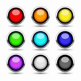 Colorful metal buttons set