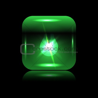Vector green glowing button-bulb for your design