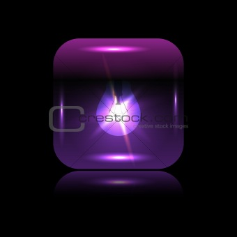 Vector purple glowing button-bulb for your design
