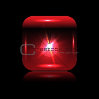 Vector red glowing button-bulb for your design