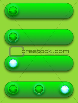 Green convex long button, off, selected and pushed