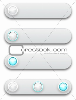 White convex long button, off, selected and pushed