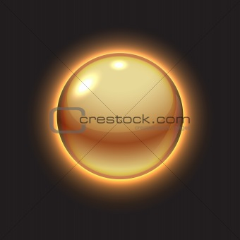Golden glowing sun ball