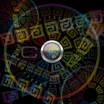 Abstract button and motley background