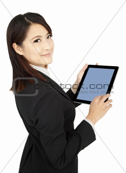 smiling  businesswoman holding tablet  computer and isolated on white