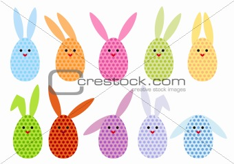 easter egg bunnies, vector