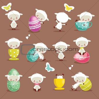 Cute easter character set