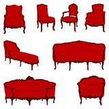 antique furniture armchairs set