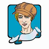 young man with a newsboy cap clip art