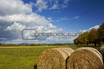 Autumn Landscape with Bale of Straw