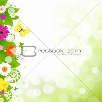 Flower With Grass And Flowers